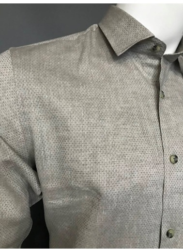 Abbate Yumuşak Yaka Keten Karışımlı Slımfıt Casual Gömlek Haki